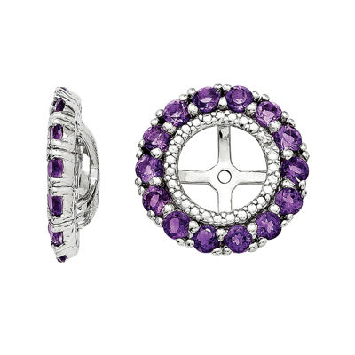 Diamond Accent and Heat-Treated Purple Amethyst Earring Jackets