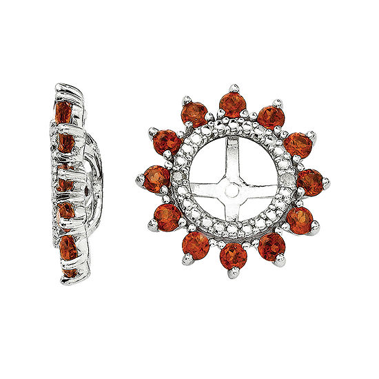 Diamond Accent Genuine Garnet Sterling Silver Earring Jackets