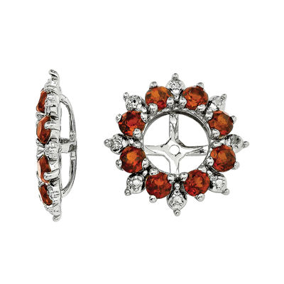 Genuine Garnet and Diamond Accent Earring Jackets