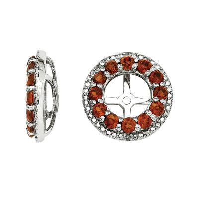 Genuine Garnet and Diamond Accent Sterling Silver Earring Jackets