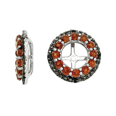 Genuine Garnet & Black Sapphire Sterling Silver Earring Jackets
