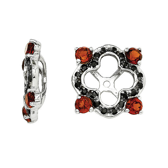 Genuine Black Sapphire and Garnet Sterling Silver Earring Jackets