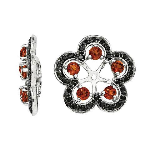 Genuine Red Garnet and Black Sapphire Earring Jackets