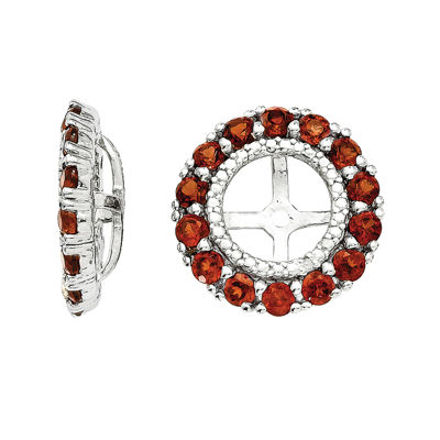 Diamond Accent and Genuine Garnet Sterling Silver Earring Jackets