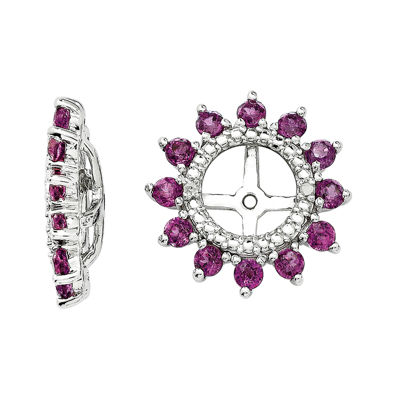 Diamond Accent & Genuine Rhodolite Garnet Sterling Silver Earring Jackets