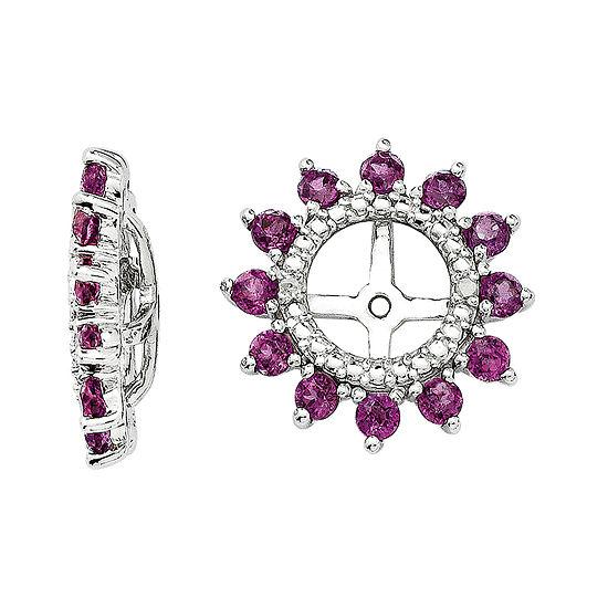 Diamond Accent & Genuine Rhodolite Garnet Sterling Silver Earring Jackets