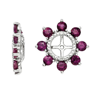 Diamond Accent & Rhodolite Garnet Sterling Silver Earring Jackets