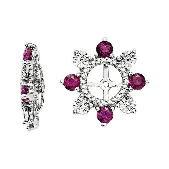 Genuine Purple Rhodolite Garnet Sterling Silver Earring Jackets