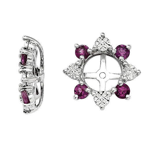 Diamond Accent & Genuine Rhodolite Garnet Sterling Silver Earrings Jackets