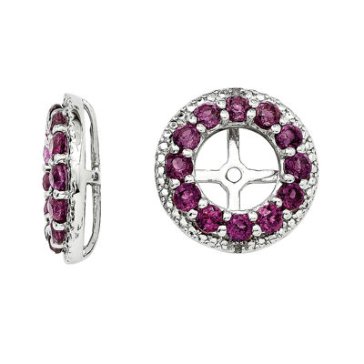 Genuine Rhodolite Garnet Diamond Accent Sterling Silver Earring Jackets