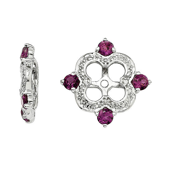 Diamond Accent Genuine Rhodolite Garnet Sterling Silver Earring Jackets