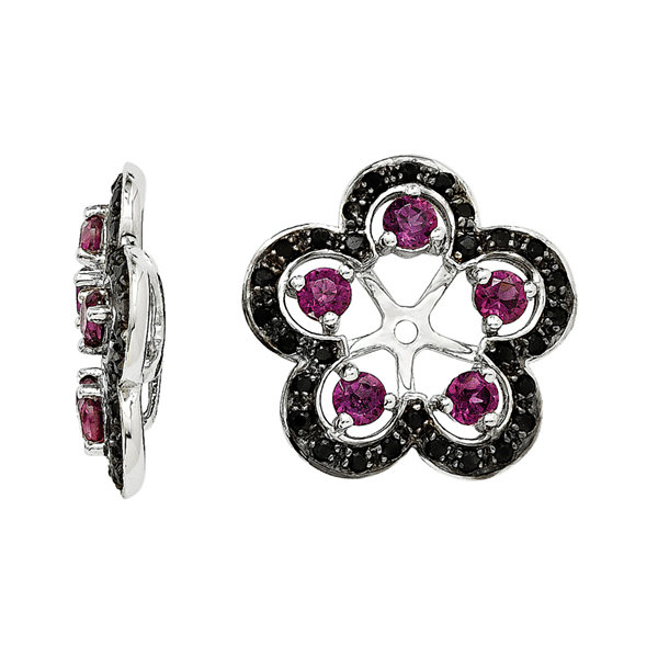 Genuine Purple Rhodolite Garnet and Black Sapphire Earring Jackets