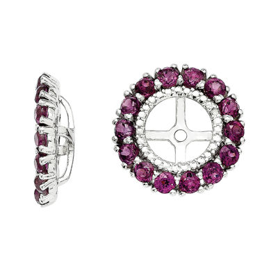 Diamond Accent and Genuine Purple Rhodolite Garnet Earring Jackets