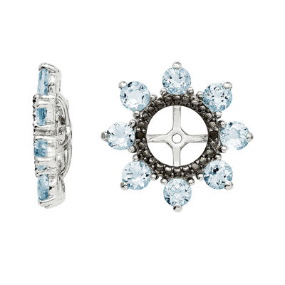 Genuine Aquamarine & Black Sapphire Sterling Silver Earring Jackets