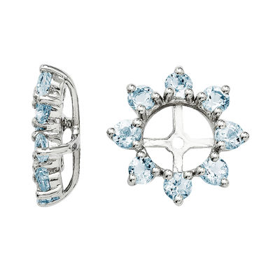 Genuine Aquamarine Sterling Silver Earring Jackets