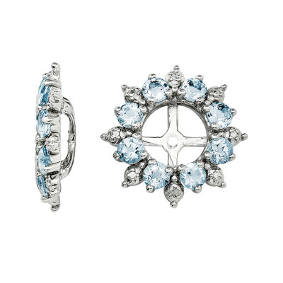 Genuine Aquamarine and Diamond Accent Earring Jackets