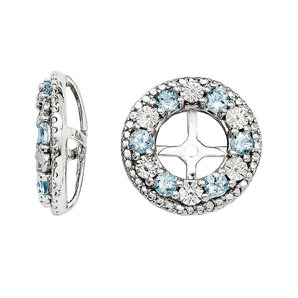 Genuine Aquamarine Sterling Silver Earring Jackets