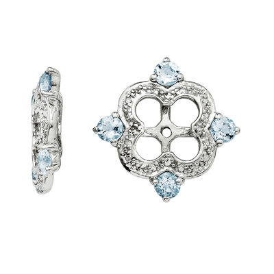 Genuine Aquamarine and Diamond Accent Sterling Silver Earring Jackets