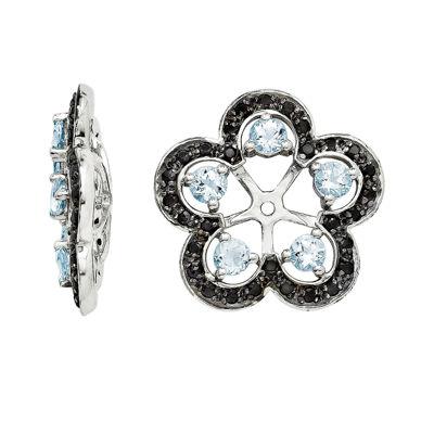 Heat-Treated Aquamarine and Genuine Black Sapphire Earring Jackets