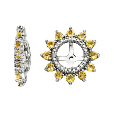 Diamond Accent & Genuine Citrine Sterling Silver Earring Jackets