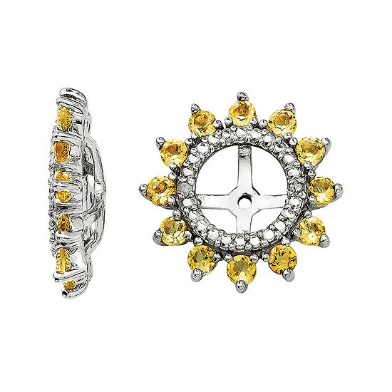 Diamond Accent Genuine Citrine Sterling Silver Earring Jackets
