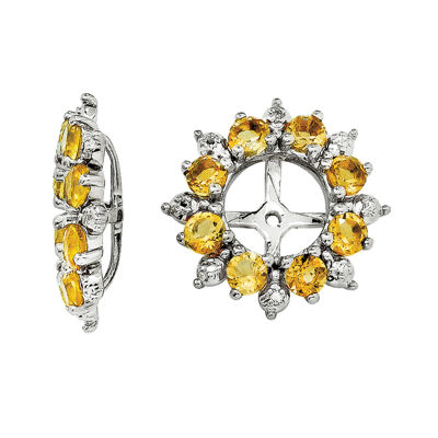 Genuine Citrine and Diamond Accent Earring Jackets