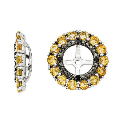 Genuine Citrine & Lab-Created Black Sapphire Sterling Silver Earring Jackets