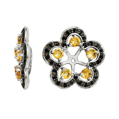 Yellow Citrine and Genuine Black Sapphire Earring Jackets
