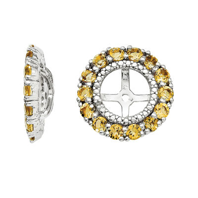 Diamond Accent and Heat-Treated Yellow Citrine Earring Jackets