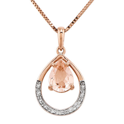 Genuine Morganite and Diamond Accent 14K Rose Gold Pendant Necklace