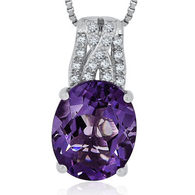 Genuine Amethyst & Diamond Accent Sterling Silver Pendant Necklace