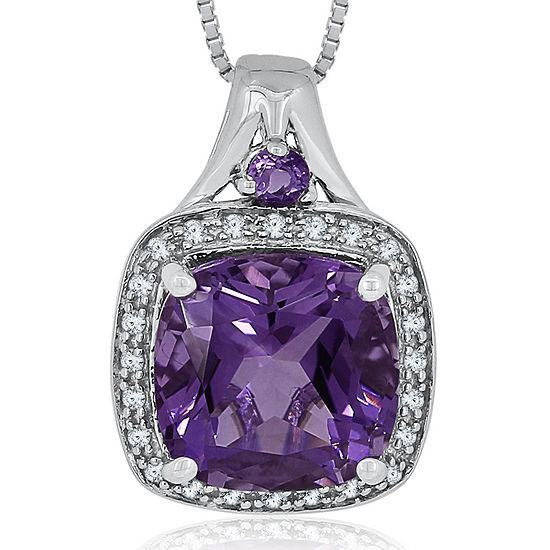 1/8 CT. T.W. Diamond & Genuine Amethyst Sterling Silver Pendant Necklace