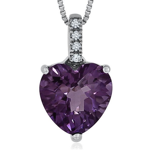 Genuine Heart-Shaped Amethyst & Lab-Created Sapphire Sterling Silver Pendant