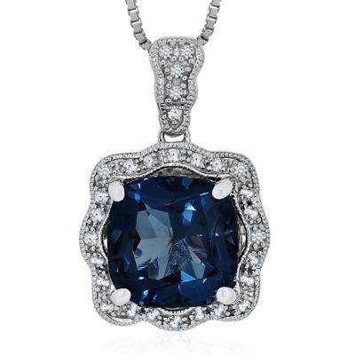 Genuine London Blue Topaz & Lab-Created White Sapphire Sterling Silver Pendant