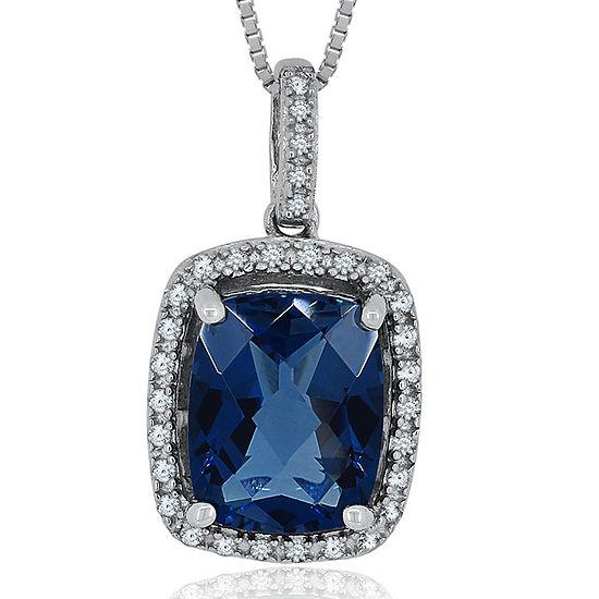 1/8 CT. T.W. Diamond & Genuine London Blue Topaz Sterling Silver Pendant
