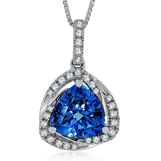 Genuine Swiss Blue Topaz & Lab-Created White Sapphire Sterling Silver Pendant
