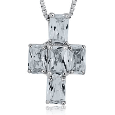 White Topaz Sterling Silver Cross Pendant Necklace