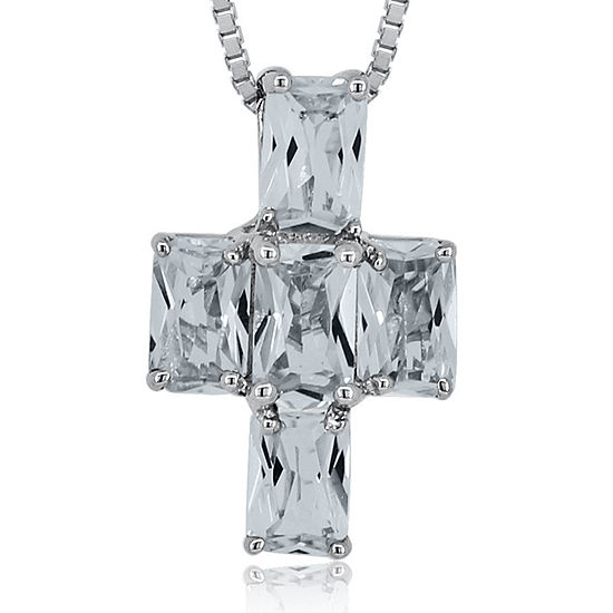 White Topaz Sterling Silver Cross Pendant Necklace
