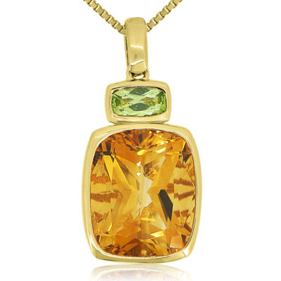 Citrine & Peridot 14K Yellow Gold Over Silver Pendant Necklace