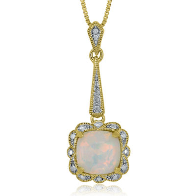 Lab-Created Opal 14K Yellow Gold Over Silver Pendant Necklace