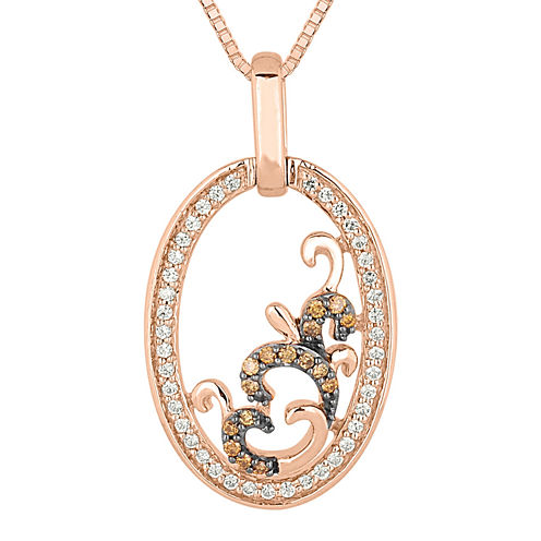 1/4 CT. T.W. White and Champagne Diamond Open-Circle Pendant Necklace