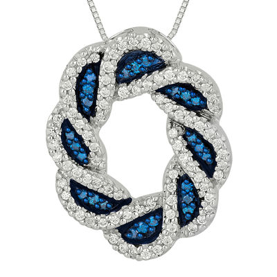 1/2 CT. T.W. White and Color-Enhanced Blue Diamond Circle Pendant Necklace