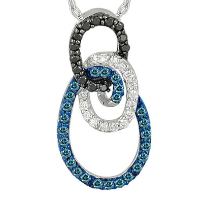 1/3 CT. T.W. White and Color-Enhanced Blue and Black Diamond Circle Necklace