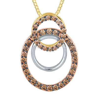 1/2 CT. T.W. White and Champagne Diamond Connected Circle Pendant Necklace
