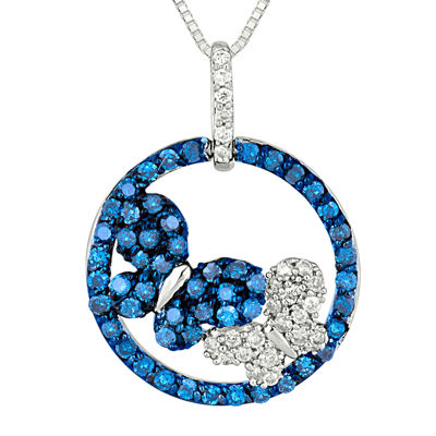 1/2 CT. T.W. White & Color-Enhanced Blue Diamond 10K White Gold Pendant