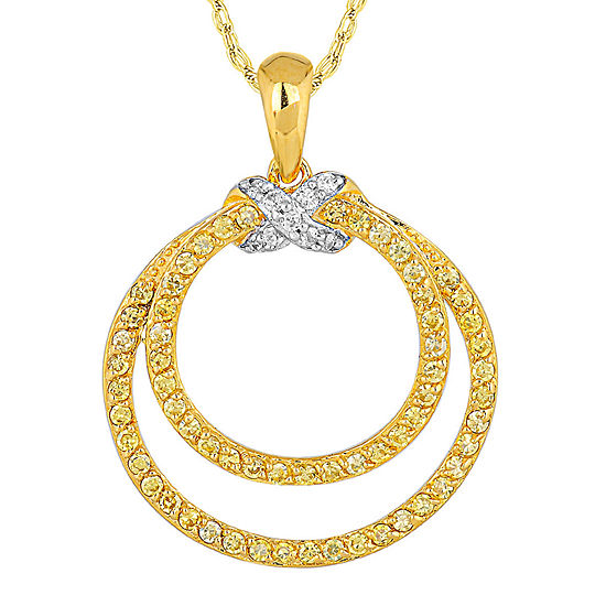 1/2 CT. T.W. White & Color-Enhanced Yellow Diamond 10K Yellow Gold Circle Pendant Necklace