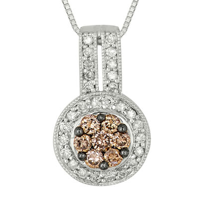 5/8 CT. T.W. Champagne & White Diamond 10K White Gold Pendant Necklace