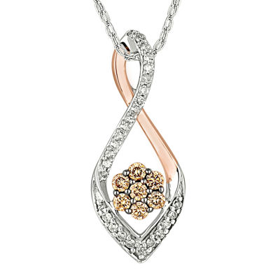 1/3 CT. T.W. Champagne & White Diamond 10K Two-Tone Gold Pendant Necklace