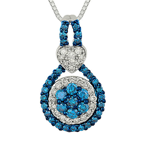 3/4 CT. T.W. White and Color-Enhanced Blue Diamond 10K White Gold Pendant Necklace