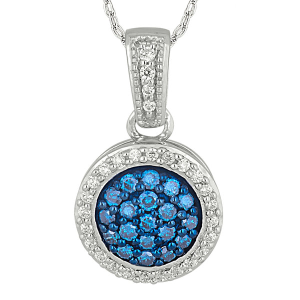 1/3 CT. T.W. White and Color-Enhanced Blue Diamond 10K White Gold Pendant Necklace